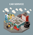 colored isometric car service composition vector image