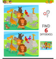 differences game with comic animal characters vector image vector image