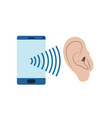ear with sound wave and smartphone vector image vector image