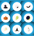 flat icon halloween set of gourd cranium witch vector image vector image