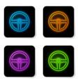 glowing neon steering wheel icon isolated on vector image