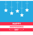Hanging stars striped background Independence day vector image vector image