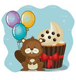 happy birthday card with cute beaver vector image vector image