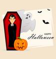 happy halloween vampire cartoon character vector image