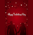 happy valentines day greeting card silhouette vector image vector image