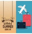 hello summer with suitcases plane poster vector image