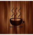 Hot drink web icon Wooden background vector image vector image