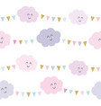kawaii clouds and garlands seamless pattern vector image