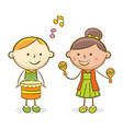 kids playing drum and trombone vector image vector image
