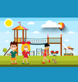kids with playground and woman with dog on vector image vector image