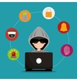 laptop hacked social media security vector image