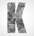 Letter K from doodle alphabet vector image