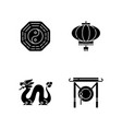 lunar new year attributes black glyph icons set vector image vector image