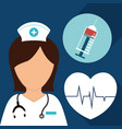 nurse syringe heartbeat care medical vector image