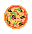 Pizza with seafood vector image