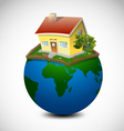 Planet with house and garden vector image vector image