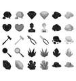 precious minerals blackmonochrome icons in set vector image vector image
