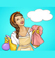 pretty housewife advertising a cleaning service vector image vector image