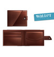 realistic opened closed empty wallet icon set vector image vector image