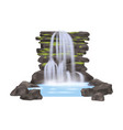 river waterfall isolated icon vector image vector image