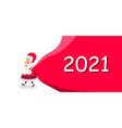 santa claus with sack happy new year 2021 vector image