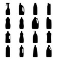 set bottle silhouettes cleaning products vector image