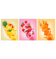set labels fruit in juice splashes vector image vector image