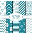 Set of blue hipster fashion geometric seamless vector image