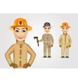 set of firefighters in brown uniform vector image