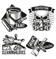 set painters facilities emblems vector image vector image