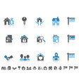simple blue color real estate icons set vector image vector image