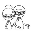 sketch silhouette half body couple elderly of vector image vector image