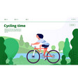 sports landing woman cycling fitness sport vector image vector image