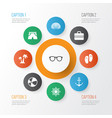 summer icons set collection of spectacles vector image vector image