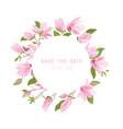 watercolor exotic magnolia flowers wreath floral vector image vector image