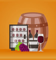 wine bottles ice bucket refrigerator cup and vector image