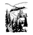 winter village in mountains vector image vector image