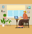 woman sitting on comfy chair with laptop computer vector image vector image