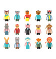 zoo characters hipsters cartoon animals front vector image vector image