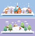 Winter village landscapes vector image