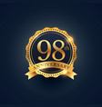 98th anniversary celebration badge label in vector image vector image