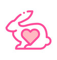 animal rabbit and heart thin line icon vector image vector image