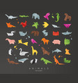 animals origami set black vector image vector image