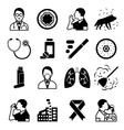 Asthma black icons set vector image vector image