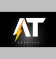 at letter logo design with lighting thunder bolt vector image