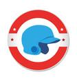 baseball sport helmet emblem icon vector image vector image
