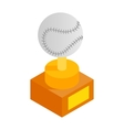 Baseball trophy isometric 3d icon vector image vector image