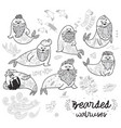 black and white contour hipster walruses with vector image