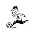 boy playing football cartoon vector image
