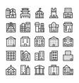 buildings landmarks line icons 11 vector image vector image